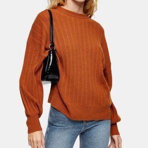 TOPSHOP Brown Knitted Sweater With Cashmere